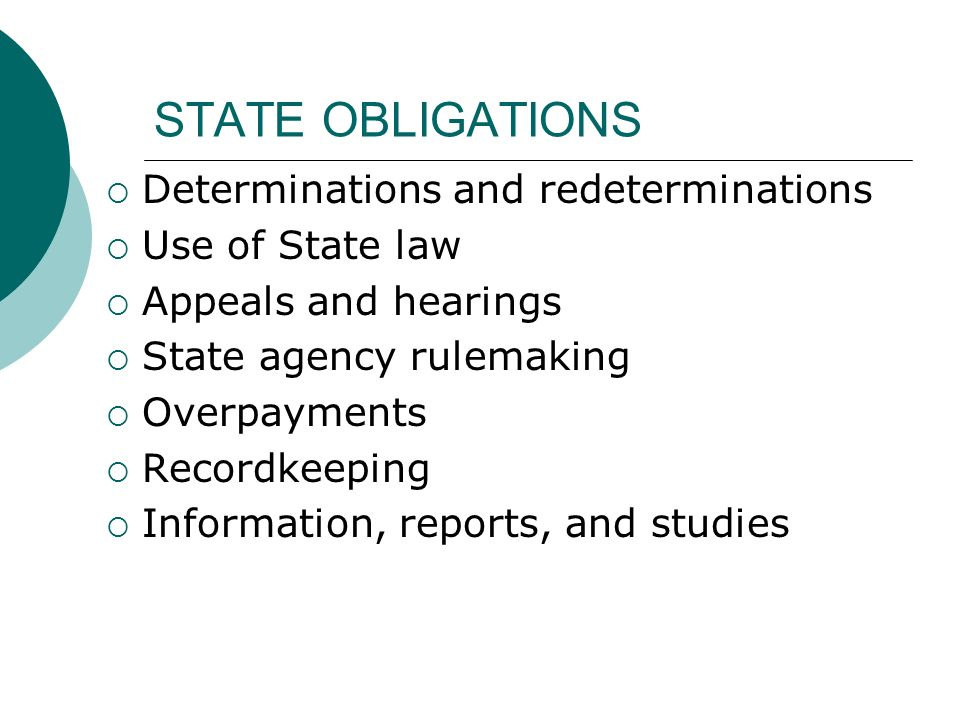 STATE OBLIGATIONS Determinations and redeterminations Use of State law Appeals and hearings State agency rulemaking Overpayments Recordkeeping Information, reports, and studies