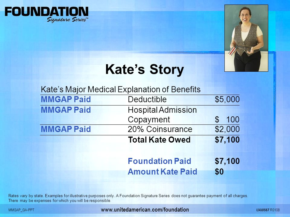 MMGAP_GA-PPT UAI0567 R0108 www.unitedamerican.com/foundation Kates Story Kates Major Medical Explanation of Benefits MMGAP PaidDeductible$5,000 MMGAP