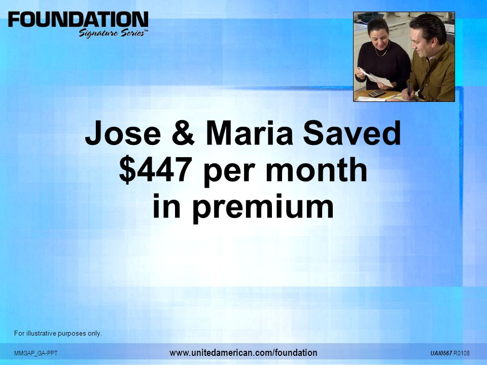 MMGAP_GA-PPT UAI0567 R0108 www.unitedamerican.com/foundation Jose & Maria Saved $447 per month in premium For illustrative purposes only.