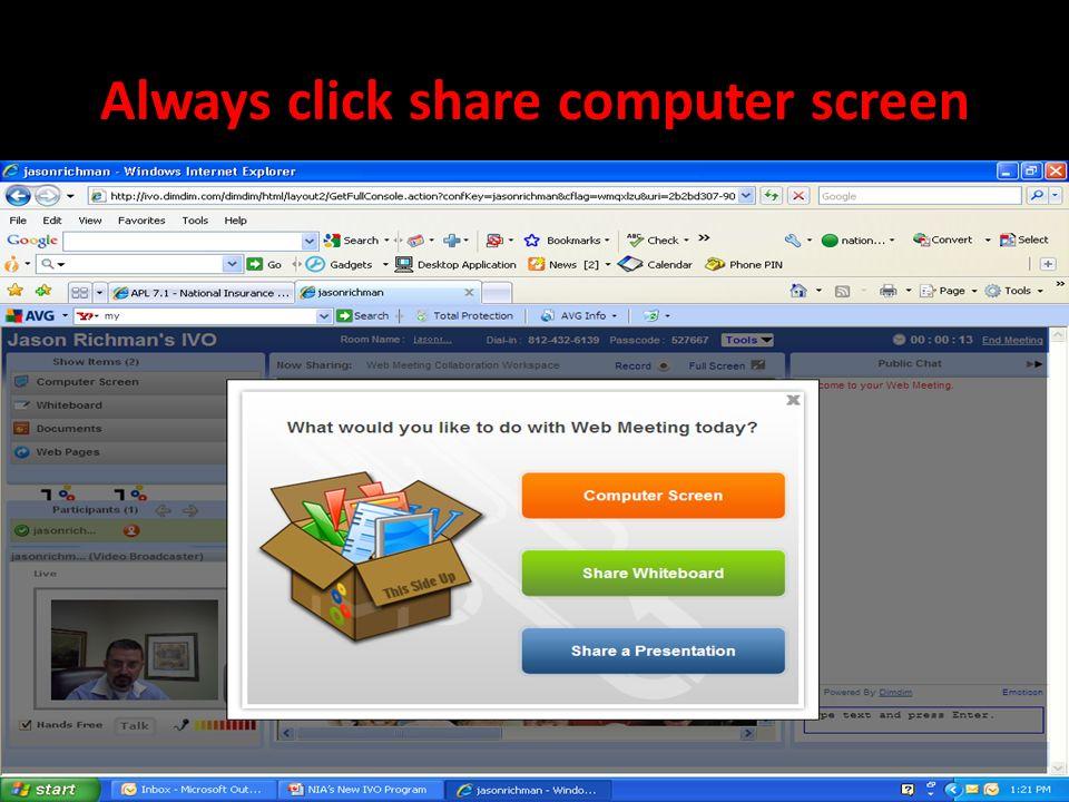 Always click share computer screen