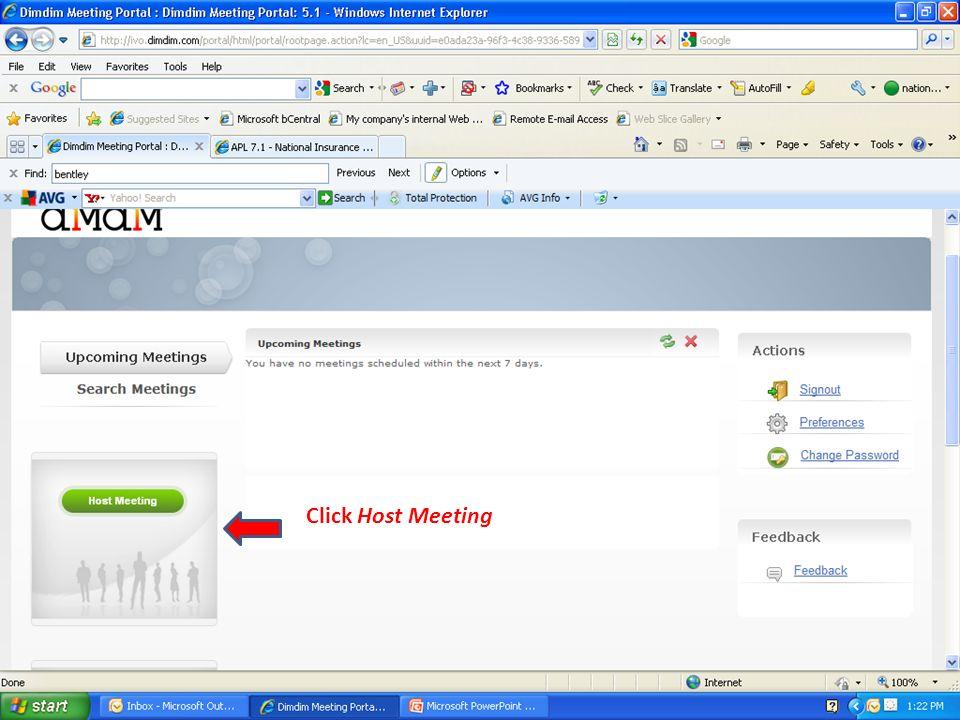 Click Host Meeting