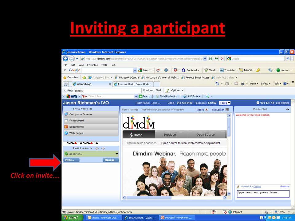 Inviting a participant Click on invite….