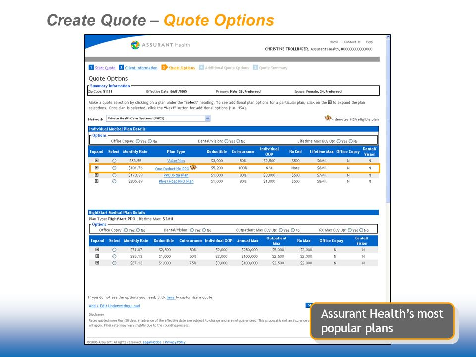 Create Quote – Quote Options Assurant Healths most popular plans