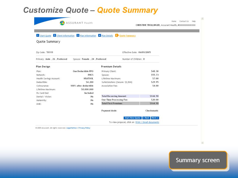 Customize Quote – Quote Summary Summary screen