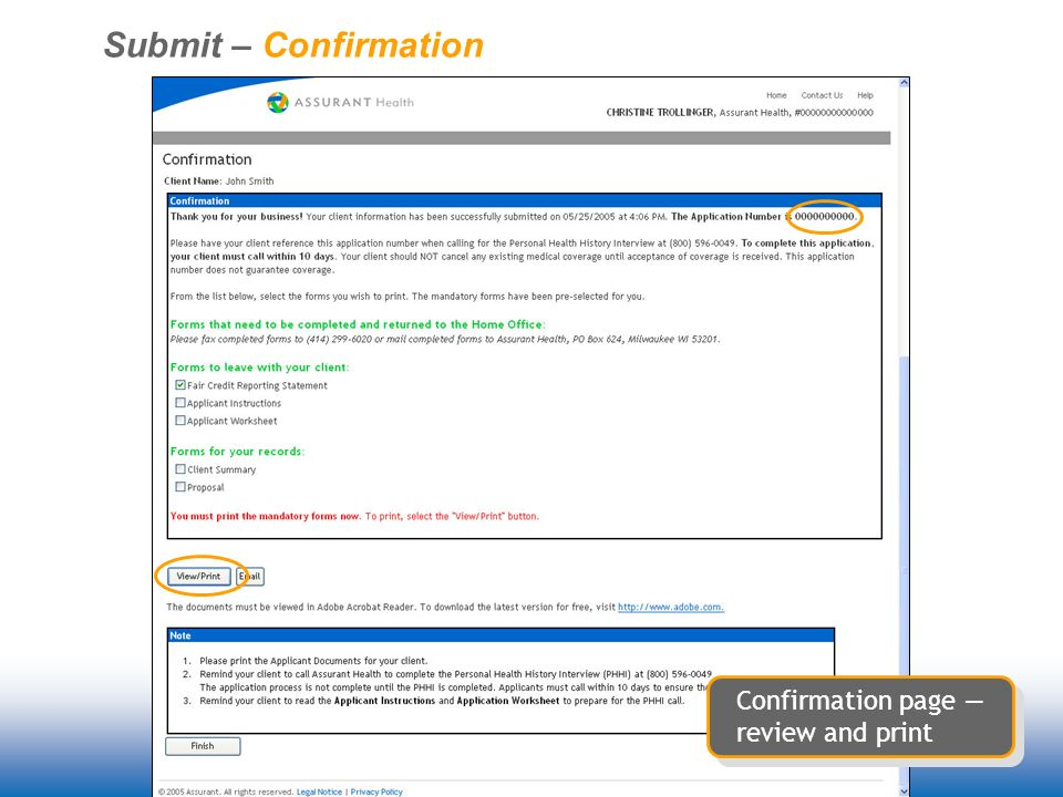Submit – Confirmation Confirmation page review and print