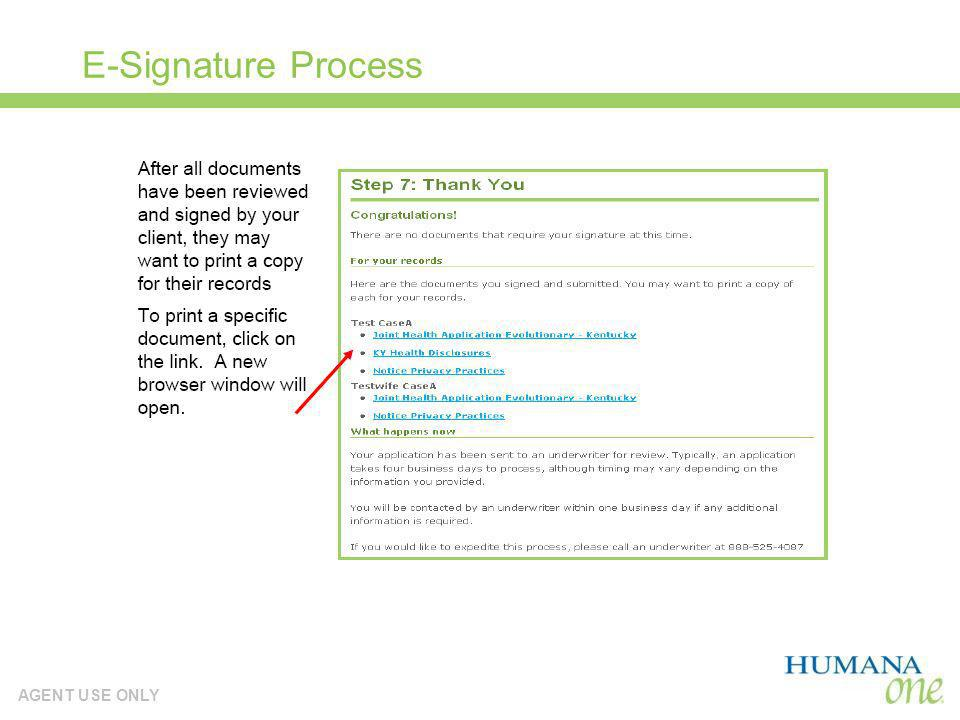 AGENT USE ONLY E-Signature Process