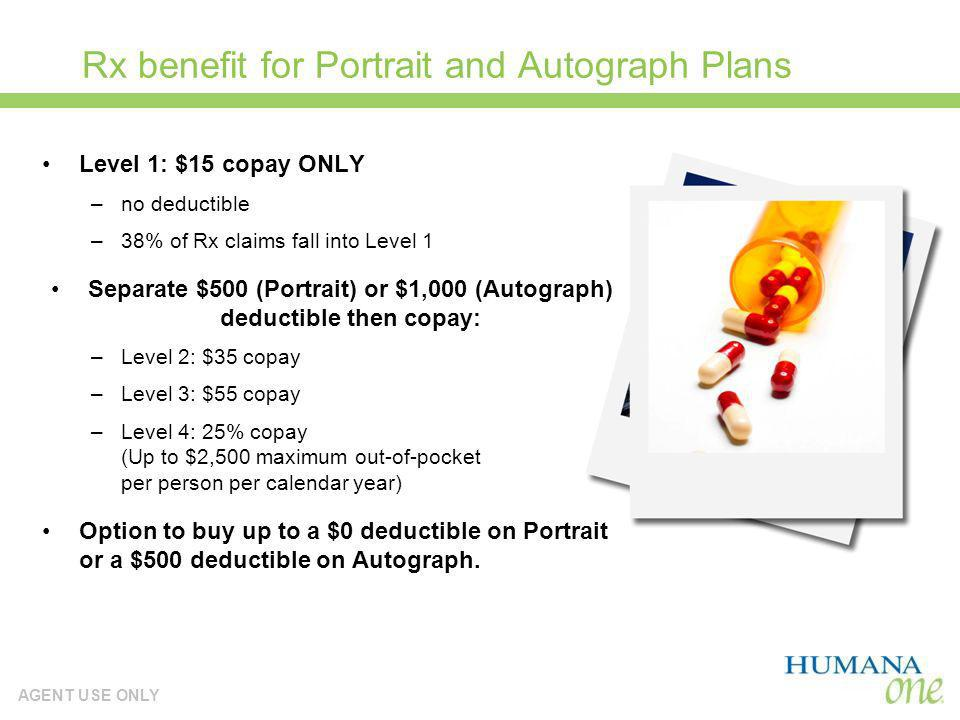 AGENT USE ONLY Rx benefit for Portrait and Autograph Plans Level 1: $15 copay ONLY –no deductible –38% of Rx claims fall into Level 1 Separate $500 (P