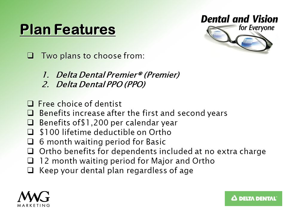 Plan Features Two plans to choose from: Two plans to choose from: 1.Delta Dental Premier® (Premier) 2.Delta Dental PPO (PPO) Free choice of dentist Be