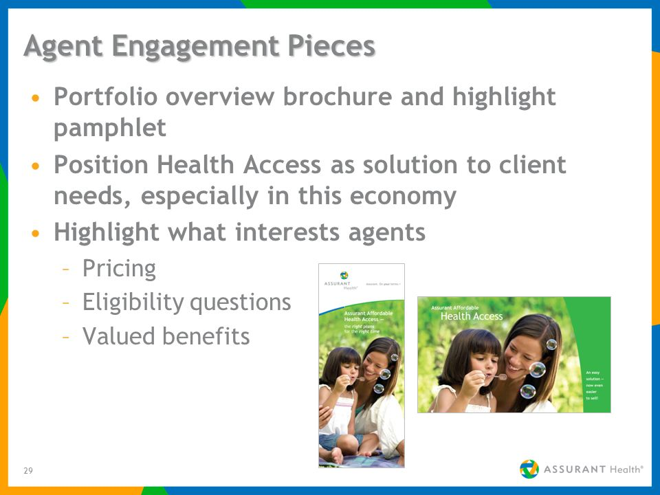 29 Agent Engagement Pieces Portfolio overview brochure and highlight pamphlet Position Health Access as solution to client needs, especially in this economy Highlight what interests agents –Pricing –Eligibility questions –Valued benefits