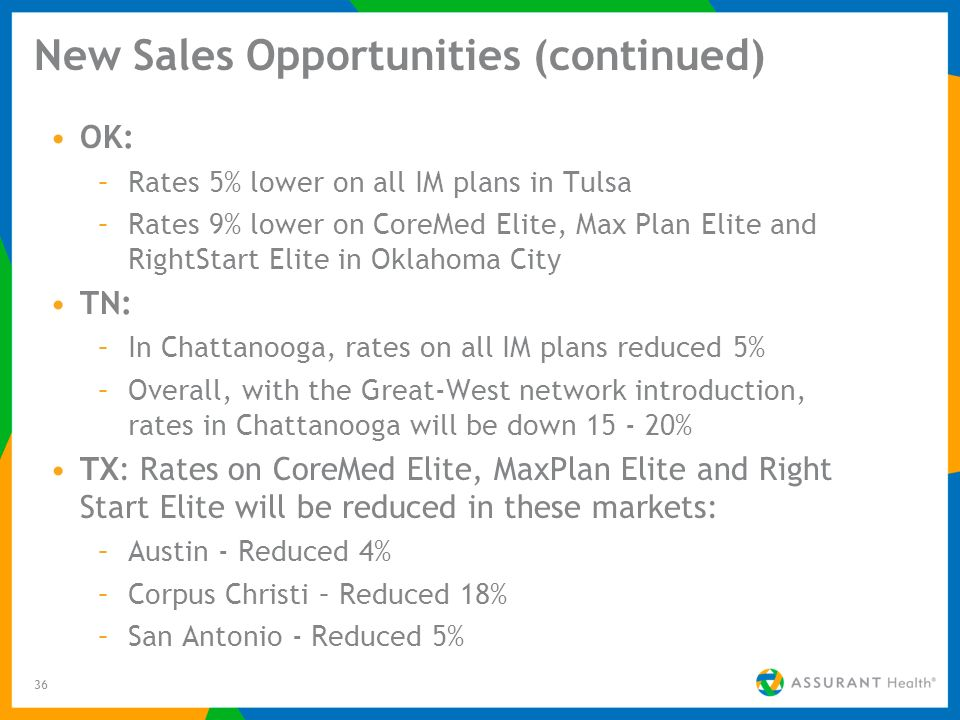 36 New Sales Opportunities (continued) OK: –Rates 5% lower on all IM plans in Tulsa –Rates 9% lower on CoreMed Elite, Max Plan Elite and RightStart El