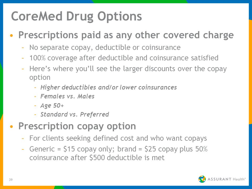 39 CoreMed Drug Options Prescriptions paid as any other covered charge –No separate copay, deductible or coinsurance –100% coverage after deductible a