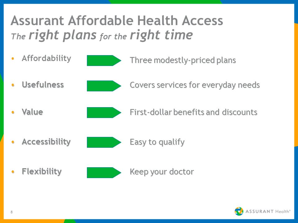 8 Assurant Affordable Health Access The right plans for the right time Affordability Three modestly-priced plans Usefulness Covers services for everyday needs Value First-dollar benefits and discounts Accessibility Easy to qualify Flexibility Keep your doctor