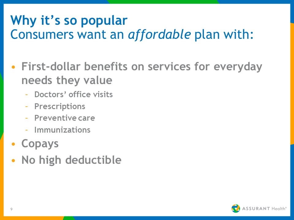 9 Why its so popular Consumers want an affordable plan with: First-dollar benefits on services for everyday needs they value –Doctors office visits –P