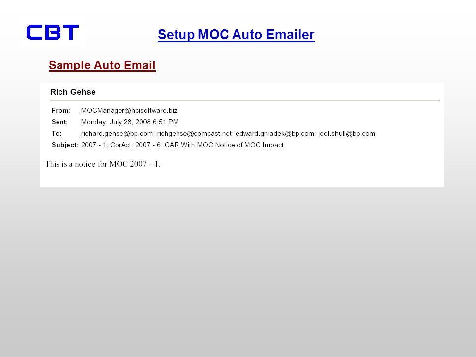 Setup MOC Auto Emailer Sample Auto Email