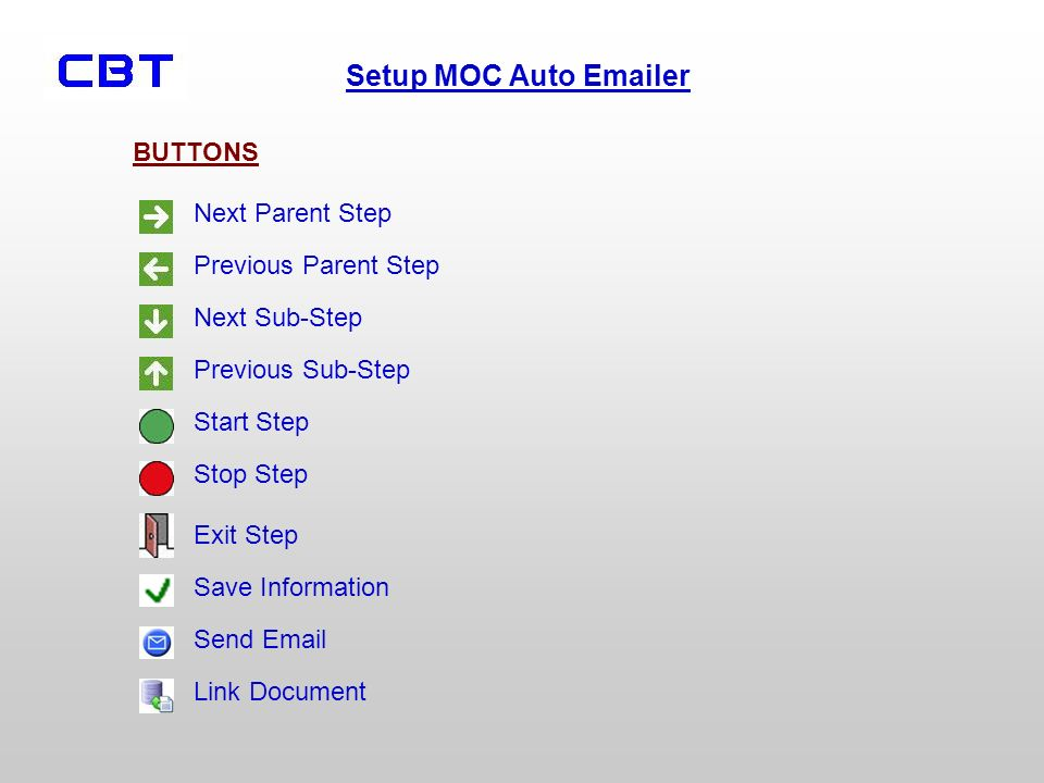 Setup MOC Auto Emailer BUTTONS Next Parent Step Previous Parent Step Next Sub-Step Previous Sub-Step Start Step Stop Step Exit Step Save Information Send Email Link Document