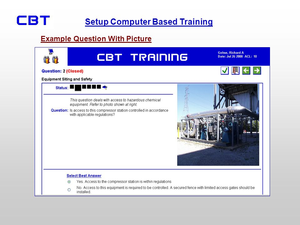Setup Computer Based Training Example Question With Picture