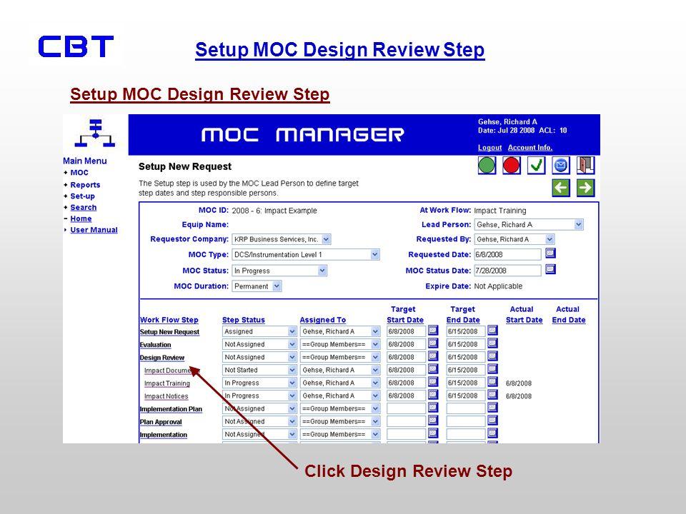 Setup MOC Design Review Step Click Design Review Step