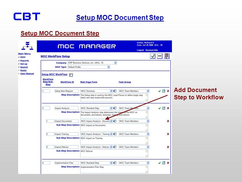 Setup MOC Document Step Add Document Step to Workflow