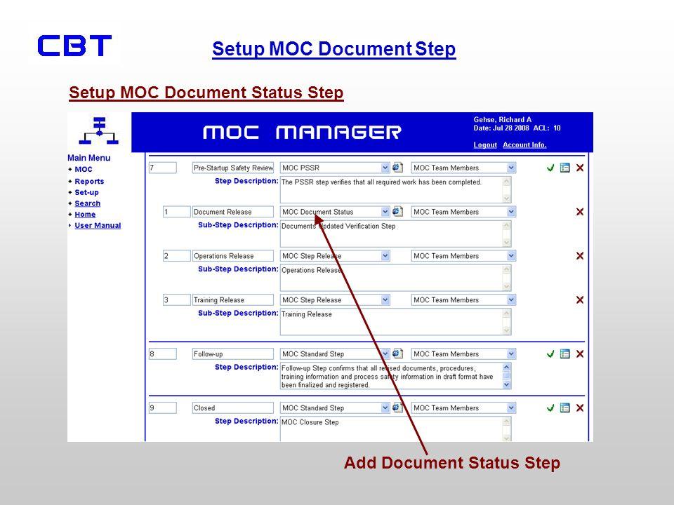 Setup MOC Document Step Setup MOC Document Status Step Add Document Status Step