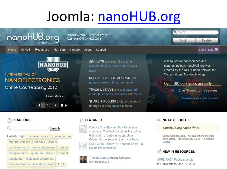Joomla: nanoHUB.orgnanoHUB.org