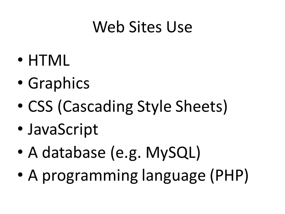 Web Sites Use HTML Graphics CSS (Cascading Style Sheets) JavaScript A database (e.g.