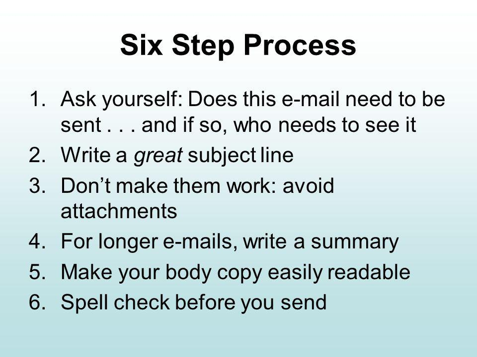 Six Step Process 1.Ask yourself: Does this  need to be sent...