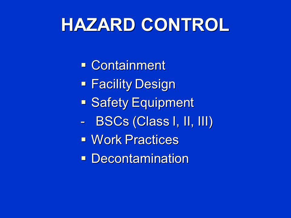 HAZARD CONTROL Containment Containment Facility Design Facility Design Safety Equipment Safety Equipment - BSCs (Class I, II, III) Work Practices Work Practices Decontamination Decontamination