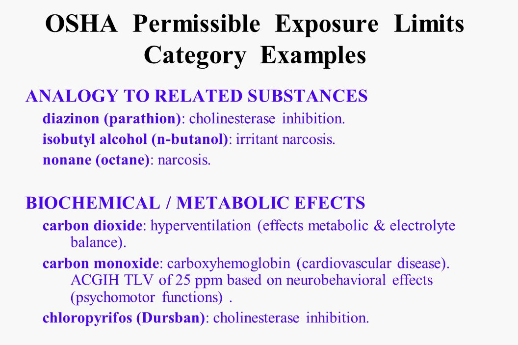 OSHA Permissible Exposure Limits Category Examples ANALOGY TO RELATED SUBSTANCES diazinon (parathion): cholinesterase inhibition. isobutyl alcohol (n-