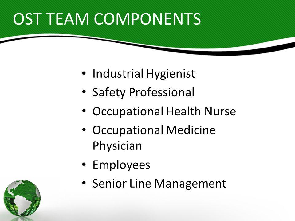 OST TEAM COMPONENTS Industrial Hygienist Safety Professional Occupational Health Nurse Occupational Medicine Physician Employees Senior Line Managemen