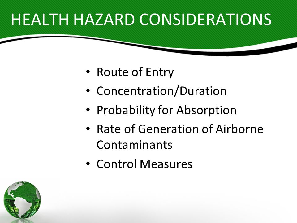 HEALTH HAZARD CONSIDERATIONS Route of Entry Concentration/Duration Probability for Absorption Rate of Generation of Airborne Contaminants Control Meas