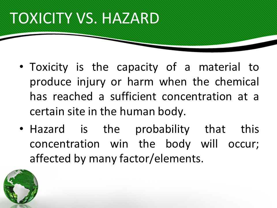HEALTH HAZARD CONSIDERATIONS Route of Entry Concentration/Duration Probability for Absorption Rate of Generation of Airborne Contaminants Control Measures