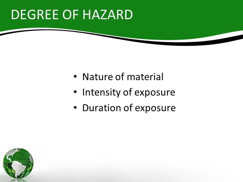 CHEMICAL HAZARDS Hydrocarbons Solvents Oil Mist Dust (Total and Respirable) Crystalline Silica Formaldehyde Carbon Monoxide Airborne Fibers