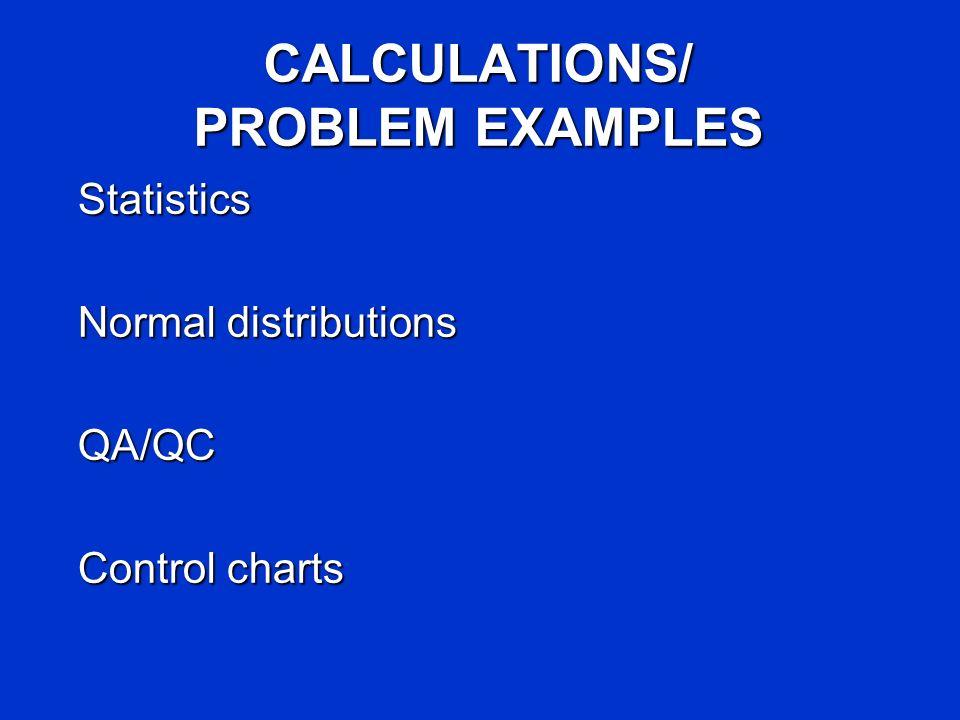 CALCULATIONS/ PROBLEM EXAMPLES Statistics Normal distributions QA/QC Control charts