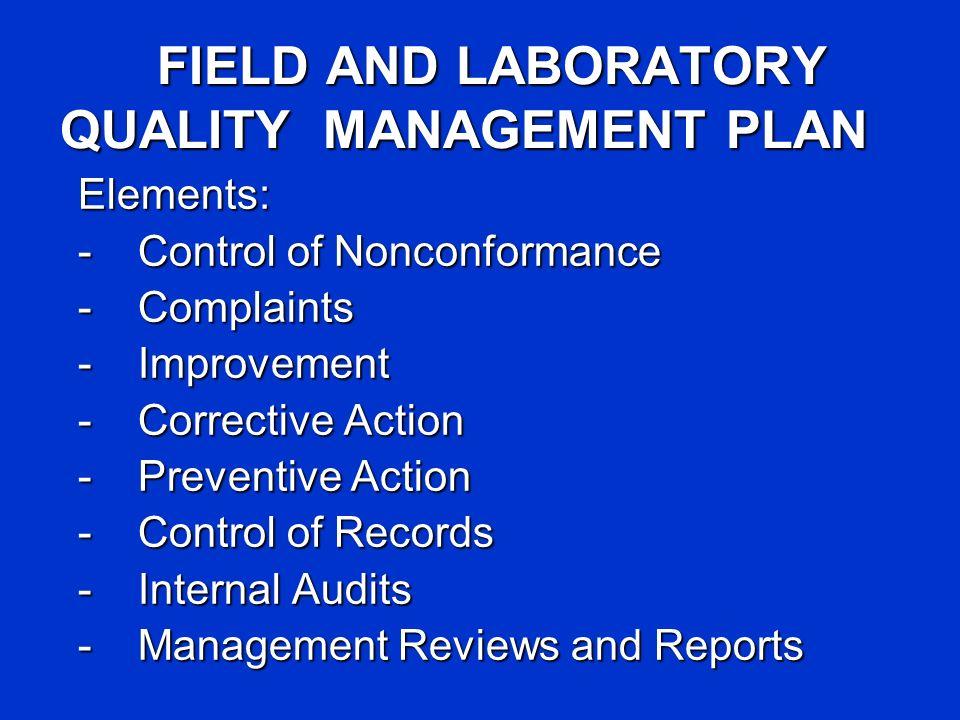 FIELD AND LABORATORY QUALITY MANAGEMENT PLAN Elements: -Control of Nonconformance -Complaints -Improvement -Corrective Action -Preventive Action -Cont