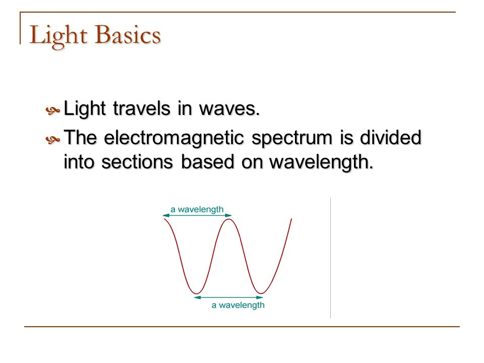 Light Basics Light travels in waves. Light travels in waves. The electromagnetic spectrum is divided into sections based on wavelength. The electromag