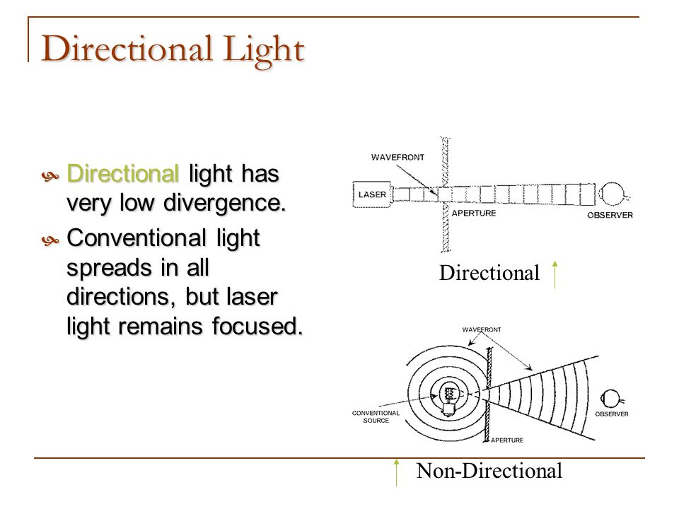 Directional Light Directional light has very low divergence. Directional light has very low divergence. Conventional light spreads in all directions,