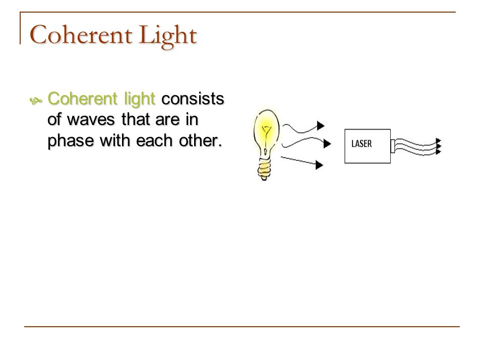 Coherent Light Coherent light consists of waves that are in phase with each other. Coherent light consists of waves that are in phase with each other.