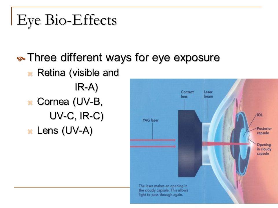 Eye Bio-Effects Three different ways for eye exposure Three different ways for eye exposure Retina (visible and Retina (visible and IR-A) IR-A) Cornea