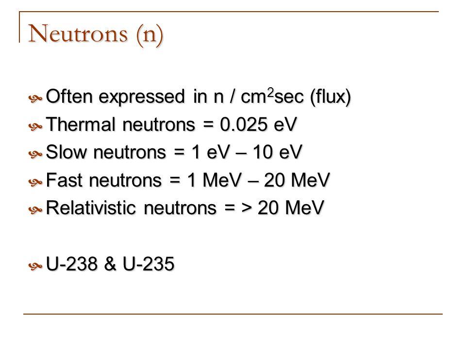 Neutrons (n) Often expressed in n / cm 2 sec (flux) Often expressed in n / cm 2 sec (flux) Thermal neutrons = 0.025 eV Thermal neutrons = 0.025 eV Slo