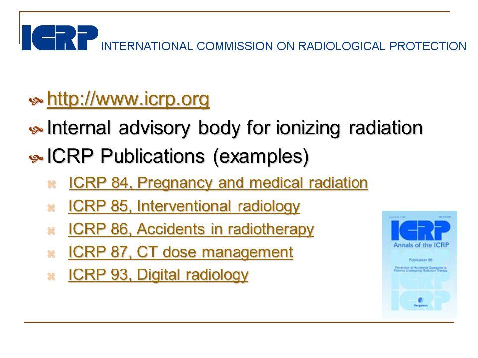http://www.icrp.org http://www.icrp.org http://www.icrp.org Internal advisory body for ionizing radiation Internal advisory body for ionizing radiatio