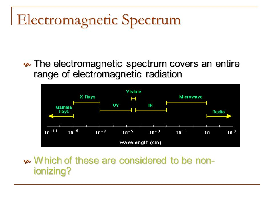 Electromagnetic Spectrum The electromagnetic spectrum covers an entire range of electromagnetic radiation The electromagnetic spectrum covers an entir
