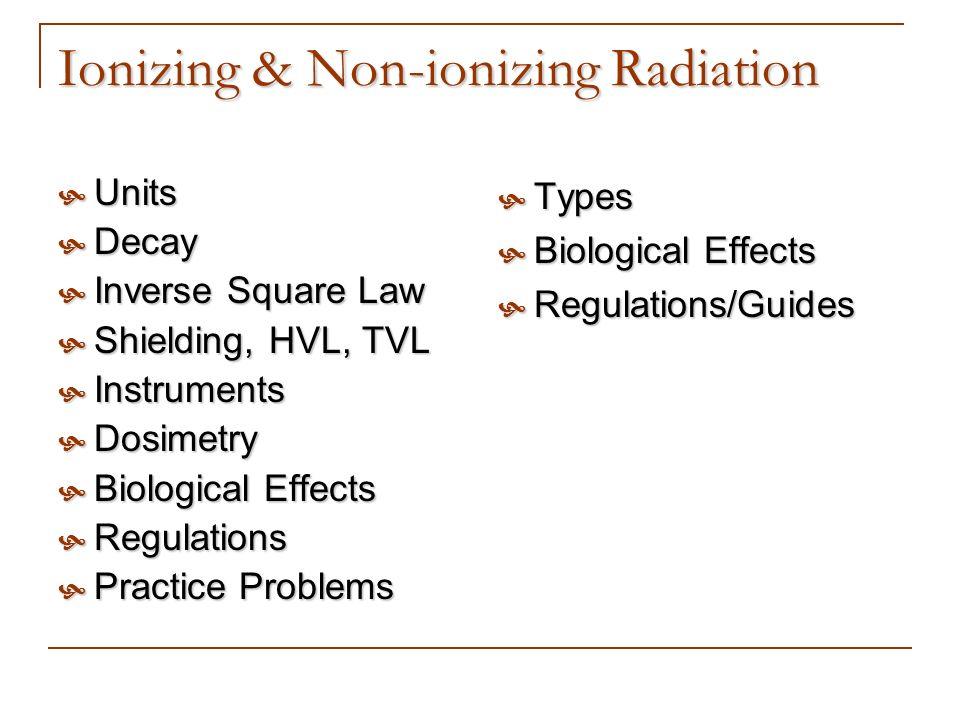 Ionizing & Non-ionizing Radiation Units Units Decay Decay Inverse Square Law Inverse Square Law Shielding, HVL, TVL Shielding, HVL, TVL Instruments In