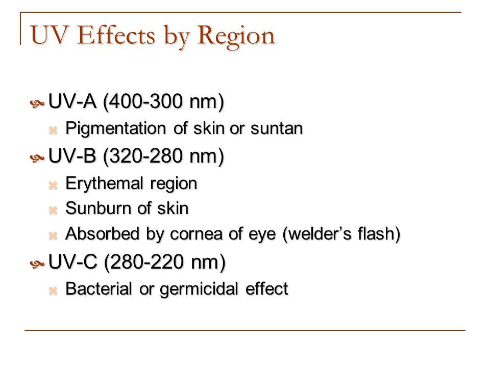 UV Effects by Region UV-A (400-300 nm) UV-A (400-300 nm) Pigmentation of skin or suntan Pigmentation of skin or suntan UV-B (320-280 nm) UV-B (320-280