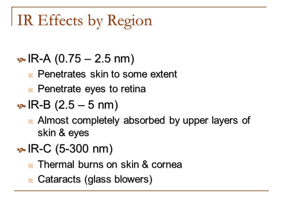 IR Effects by Region IR-A (0.75 – 2.5 nm) IR-A (0.75 – 2.5 nm) Penetrates skin to some extent Penetrates skin to some extent Penetrate eyes to retina