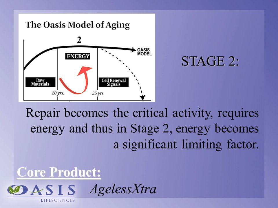 Repair becomes the critical activity, requires energy and thus in Stage 2, energy becomes a significant limiting factor. 2 STAGE 2: Core Product: Agel