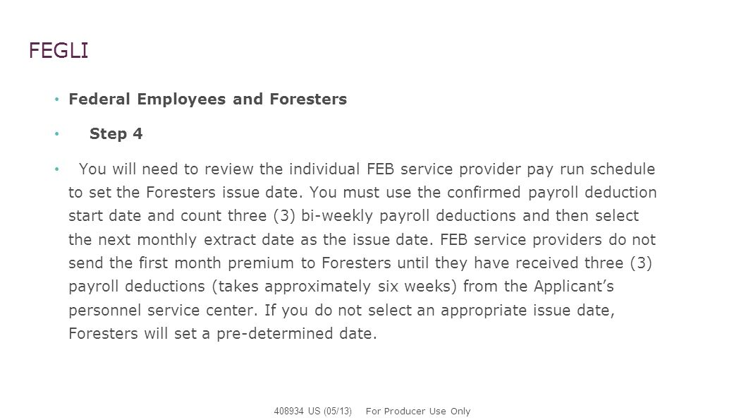 FEGLI Federal Employees and Foresters Step 4 For Tower, refer to the Allotment Cutoff Calendar which is found on Towers website – link is as follows.