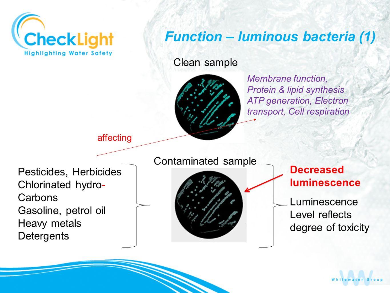 Decreased luminescence Luminescence Level reflects degree of toxicity Function – luminous bacteria (1) Pesticides, Herbicides Chlorinated hydro- Carbo