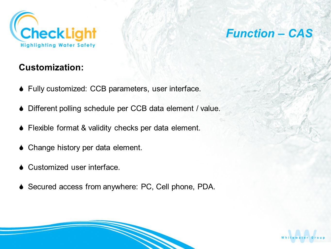 Customization: Fully customized: CCB parameters, user interface.
