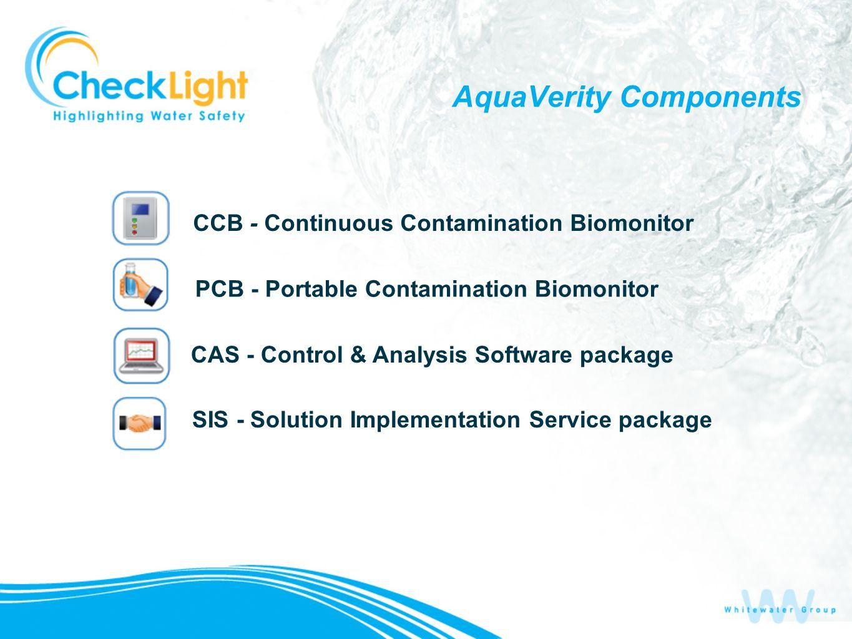AquaVerity Components CCB - Continuous Contamination Biomonitor PCB - Portable Contamination Biomonitor CAS - Control & Analysis Software package SIS
