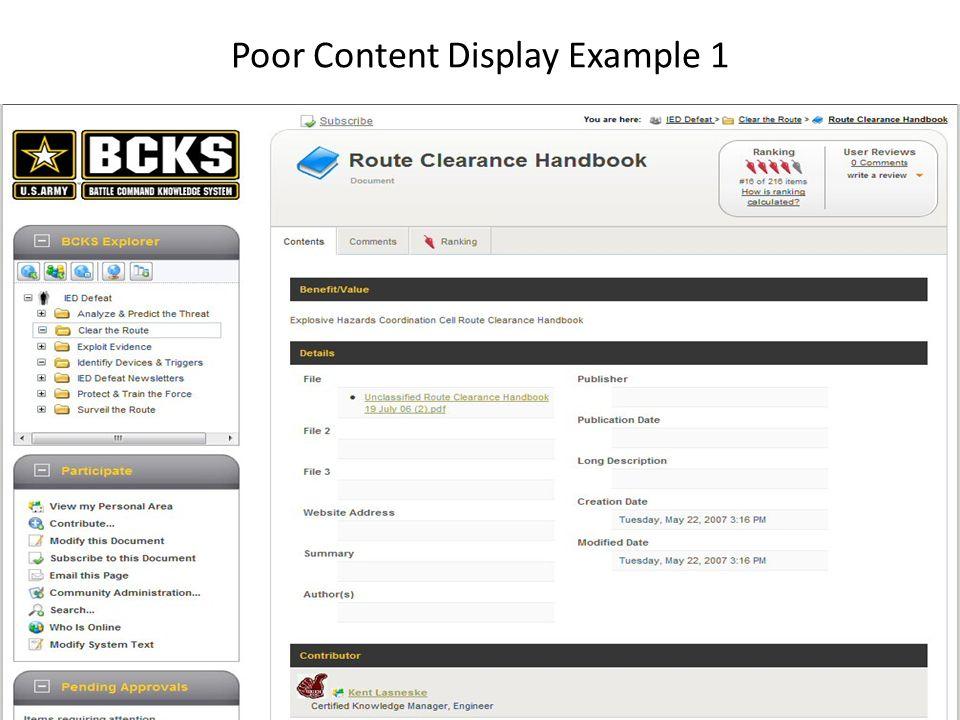 Poor Content Display Example 1 11